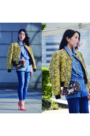 denim Topshop jeans - print Stella McCartney blazer - python Jimmy Choo bag