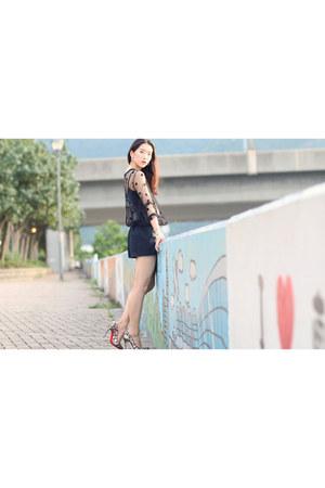 black sheer sass & bide jumper - bubble gum jewel Christian Louboutin heels