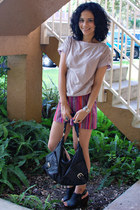 Forever 21 shorts - banana republic shirt - Junior Drake bag - Lucky Brand heels