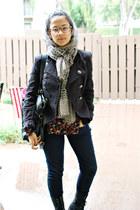 navy Gap jeans - beige Francescas Boutique scarf - carrot orange Forever21 blous