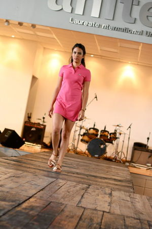 pink Lacoste dress - brown Lacoste shoes