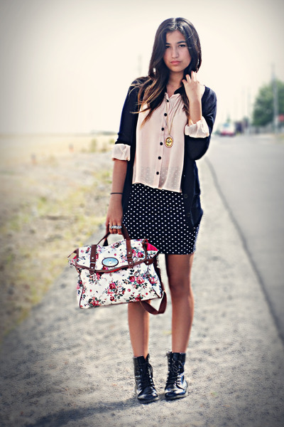 black skirt - light pink blouse - black cardigan