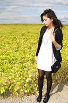 black Rue 21 blazer - white Forever21 dress - black Forever21 tights