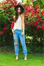 Black-zara-shoes-black-hat-sky-blue-forever-21-pants-beige-blouse