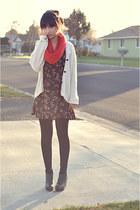 red scarf - black dress - black wedges