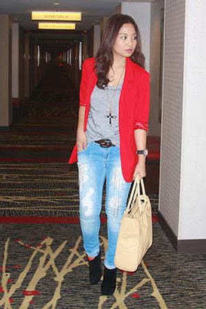 red Forever 21 blazer - black Charlotte Russe boots