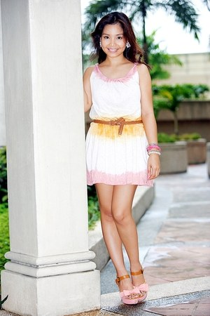pink Jellybean shoes - white Jellybean dress - burnt orange belt