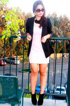 black Charlotte Russe boots - peach Forever 21 dress - black H&M blazer