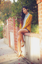 mustard H&M cardigan - camel oxfords shoes - crimson faux leather shorts