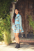 black To Be Announced boots - sky blue baroque dress romwe dress