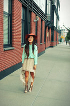 aquamarine H&M blouse - tawny Urban Outfitters hat