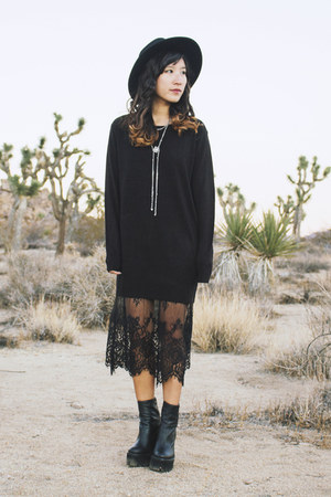 black mulder Jeffrey Campbell boots - black Forever 21 dress