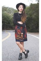 ruby red Ralph Lauren skirt - black Jeffrey Campbell boots - black Zara top