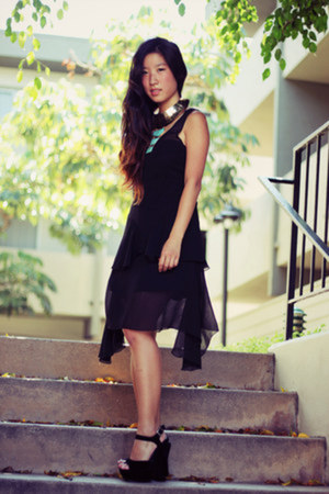 black vintage dress - gold collar necklace Native Runaway necklace
