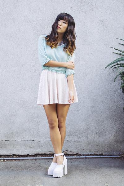 white Jeffrey Campbell shoes - light pink velvet Forever 21 skirt