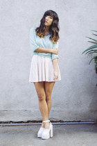 white Jeffrey Campbell shoes - light pink velvet Forever 21 skirt