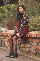 navy vintage blouse - black vintage boots - crimson H&M sweater
