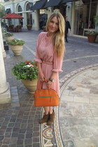 light pink vintage dress - camel Zara boots - Michael Kors watch