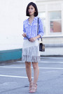 Blue-equipment-shirt-silver-zara-skirt-tan-carel-heels