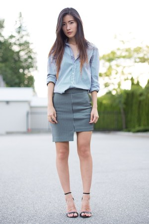 black Zara shirt - black asos skirt - black Zara heels