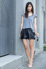 Black-line-dot-shorts-nude-nine-west-sandals-silver-h-m-top