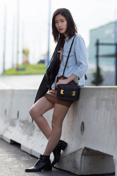dark brown H&M skirt - black Helmut Lang boots - sky blue Mango shirt