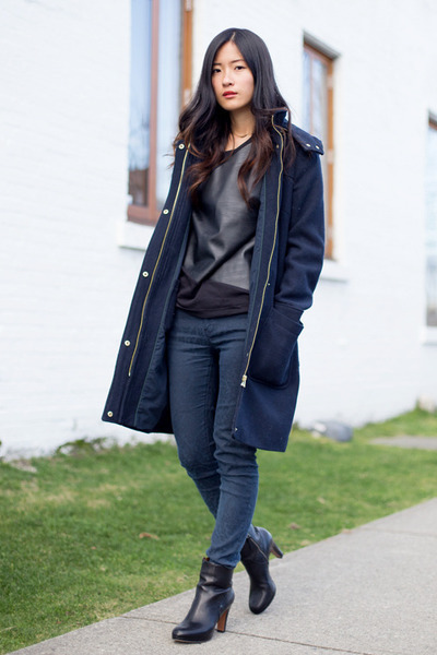 navy Zara coat - black Nine West boots - black Zara top - navy Zara pants