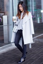 silver Mango coat - black Gap jeans - silver Chelsea28 sweater