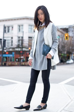 silver Zara sweater - black Gap jeans - white Chicwish vest