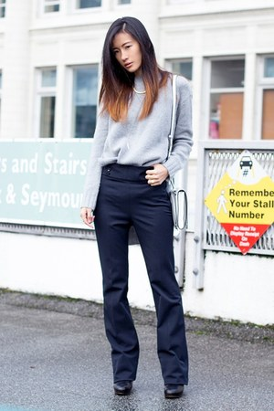 silver Zara sweater - navy Zara pants