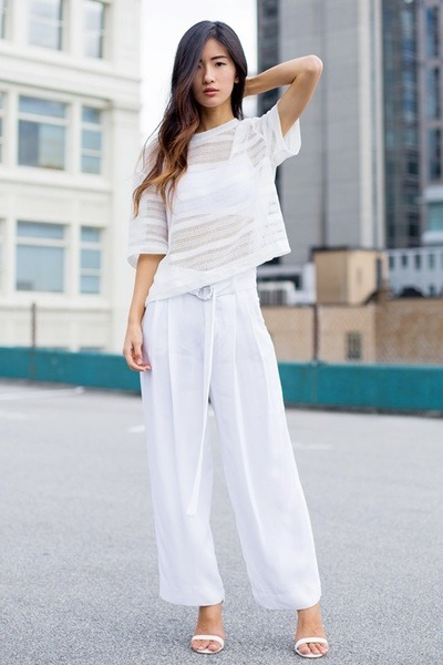 white H&M top - white Forever 21 top - white Zara pants - white le chateau heels