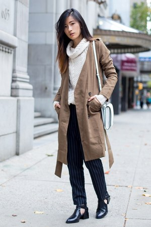 off white Zara sweater - dark khaki chuu coat - navy chuu pants