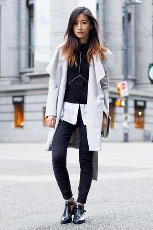 silver Mango coat - black Senso boots - black Mango sweater
