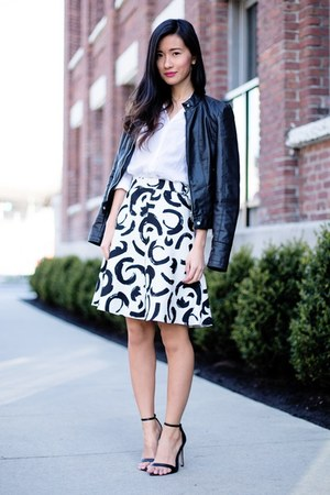 white H&M shirt - black Vero Moda jacket - white Zara skirt - black Zara sandals