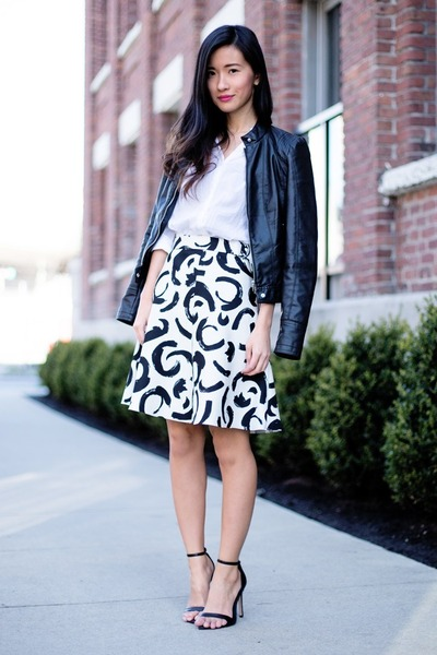 white H&M shirt - black Vero Moda jacket - white Zara skirt - black Zara sandals