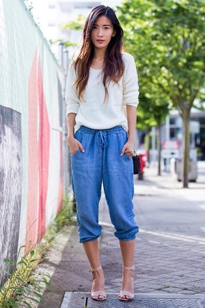 white H&M sweater - sky blue Bella Dahl pants