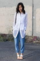 white banana republic shirt - sky blue Bella Dahl sandals