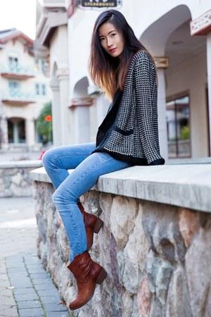 dark brown Frye boots - blue Zara jeans - black BB Dakota cardigan