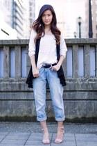 white H&M sweater - light blue vintage jeans - nude Nine West heels