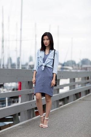 periwinkle orb dress - light blue Mango shirt - white le chateau heels