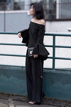 black MLM LABEL top - black stuart weitzman heels