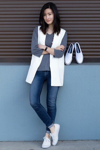 navy J Brand jeans - white Chicwish vest - cream Keds sneakers