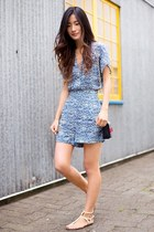 sky blue Mango romper - white Dolce Vita sandals