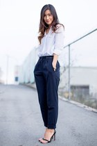 navy Zara pants - white H&M shirt - black Zara sandals