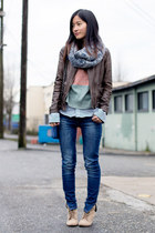 dark brown Zara jacket - blue Zara jeans - salmon orb clothing sweater