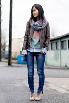 dark brown Zara jacket - blue Zara jeans - salmon orb clothing sweater