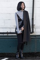 black sam edelman boots - black ACES OF ARMOR dress - black ACES OF ARMOR coat