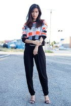 carrot orange Missguided sweater - black Missguided pants - black Zara sandals