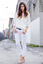 white JCrew jeans - ivory H&M sweater - nude Nine West sandals