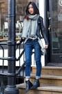 Blue-levis-jeans-black-viparo-jacket
